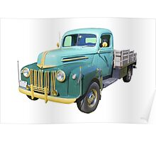 Old Flat Bed Ford Work Truck Poster