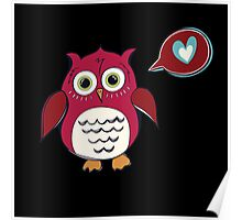 Red Love Owl Poster