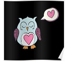 Sleeping Blue Love Owl Poster