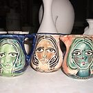 tiny oil jugs australian  handmade and hand painted (all sold) by catherine walker