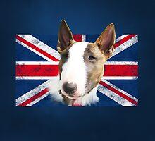 Bull Terrier BETTY Bullterrier UK grunge FLAG // navy by bullylove