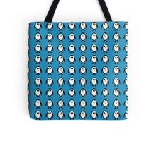 Penguin Pattern on Blue Background Tote Bag