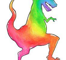 Tyrannosaurus Rainbow by littlebluerenn