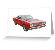 Red 1968 Plymouth Roadrunner Muscle Car Greeting Card