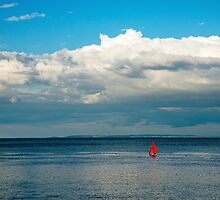 Red Yacht off Penarth South Wales UK by Nick Jenkins