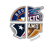 Houston Texas Pro Sports TETRAlogy! Astros, Rockets, Dynamo and Texans by SplitDecision