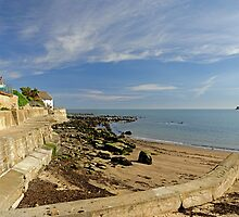 Runswick Bay, Beach and Sea Wall by Rod Johnson