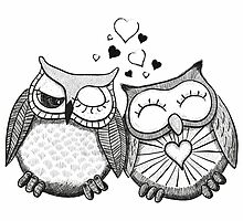Cute black and white owl couple by Fuchs-und-Spatz