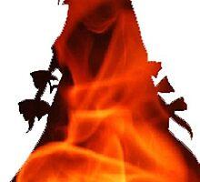Mokou on fire by Miomiya