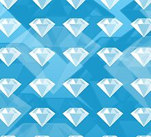 White Diamonds on Blue Background by ArtsyRosey