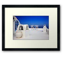Have a seat at Firostefani - Santorini island Framed Print