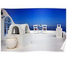 Have a seat at Firostefani - Santorini island Poster