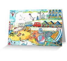 1950 Seaside Scene THE BLUE ONE Greeting Card