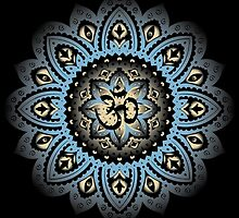 Yoga Mandala Henna Ornate Ohm Carolina Blue by Carolina Swagger
