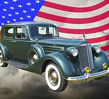 Packard Luxury Car And American Flag by KWJphotoart