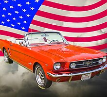 1965 Red Ford Mustang And American Flag by KWJphotoart