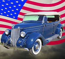 1936 Ford Phaeton Convertible With American Flag  by KWJphotoart