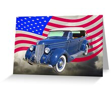 1936 Ford Phaeton Convertible With American Flag  Greeting Card