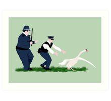 Swan cops Art Print