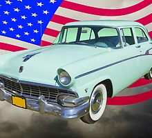 1956 Ford Custom Line Car And US Flag by KWJphotoart