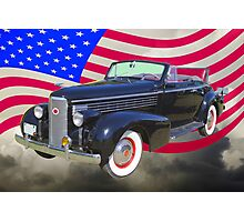 Black 1938 Cadillac Lasalle With United States Flag Photographic Print