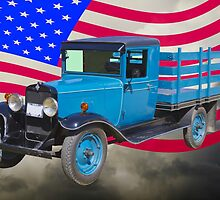 1929 Blue Chevy Truck And American Flag by KWJphotoart