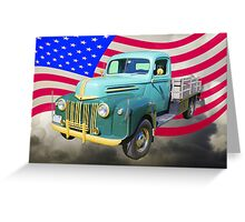 Old Flat Bed Ford Work Truck And American Flag Greeting Card
