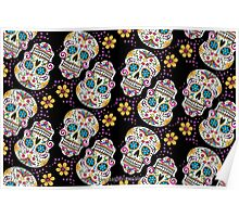 Sugar Skull Halloween, Day Of The Day BLACK Poster