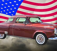 Studebaker Champian Antique Car And American Flag by KWJphotoart