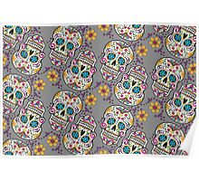 Sugar Skull Halloween, Day Of The Day GREY Poster