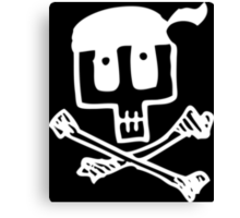 Cute Pirate Skull and Cross Bones White Canvas Print