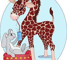 Giraffe Shares With Friends by redqueenself
