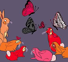 rabbits and butterflies by soogie