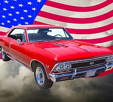 1966 Chevy Chevelle SS 396 and United States Flag by KWJphotoart
