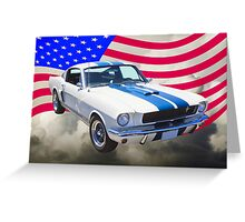 1965 GT350 Mustang Muscle Car With American Flag Greeting Card