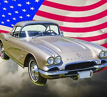 Silver1962 Chevrolet Corvette And American Flag by KWJphotoart