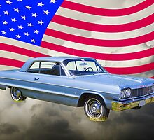 1964 Chevrolet Impala Muscle Car And American Flag by KWJphotoart