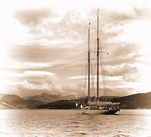 Schooner in Sepia by Lynn Bolt