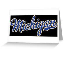 Michigan Script Blue Greeting Card