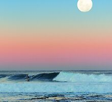 Newcastle Beach Sunset with Full Moon by tuliptimeimages