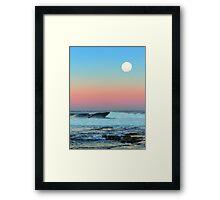 Newcastle Beach Sunset with Full Moon Framed Print