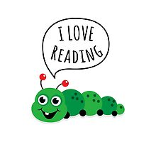 I love reading, cute cartoon bookworm by MheaDesign