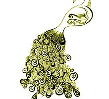 Golden Peacock Sticker Phone Cases by umeshmeher