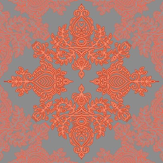 Burnt Orange, Coral & Grey doodle pattern by micklyn