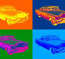 1956 Sedan Deville Cadillac Luxury Car Pop Art by KWJphotoart