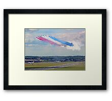 Red Arrows 10 Ship Open The Farnborough Airshow 2014 ! Framed Print