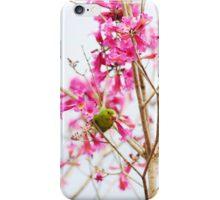 Parrot among pink flowers iPhone Case/Skin