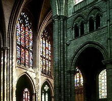 From nave to South Transept Cathedral Sens France 198405050094  by Fred Mitchell