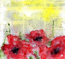 Printed Poppies - Three Stems by sissysparrows