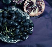 Still Life With Pomegranate And Dark Grapes by JBlaminsky